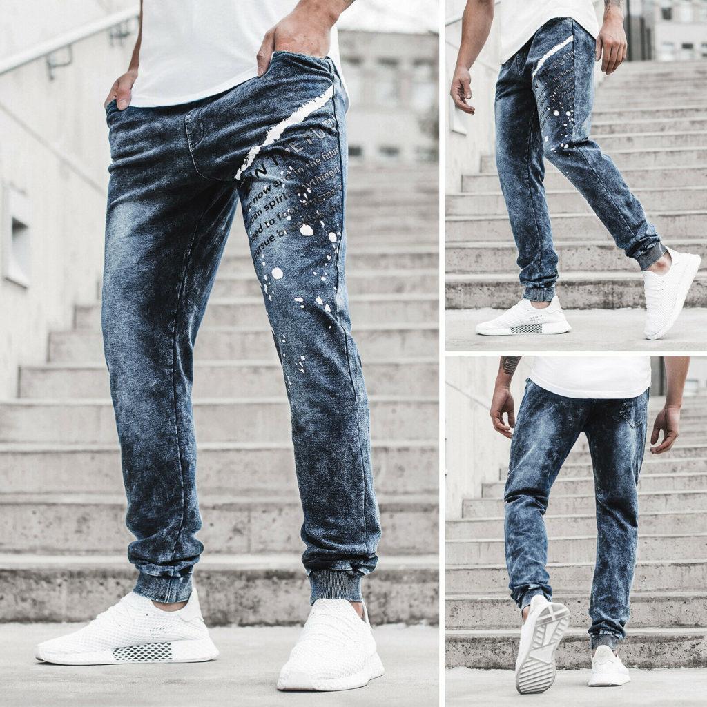 Jogger Trainingshose Freizeithose Jeans Fitness Classic