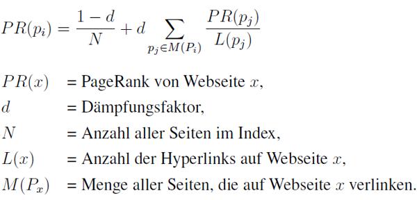 Formel zur Berechnung des Pagerank